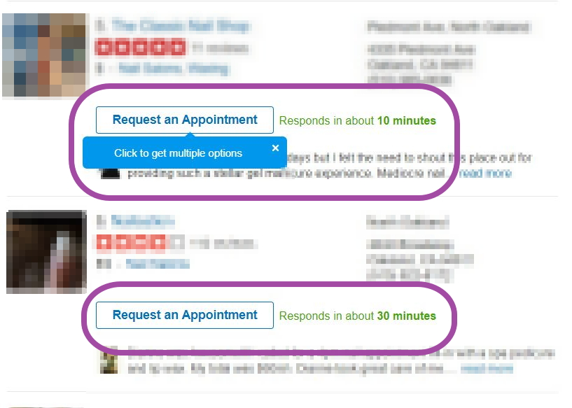 yelp request an appointment